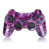 PS3 Controller Wireless SIXAXIS Double Shock Controller for Playstation 3 with Charge Cord(Purple Star) (Color: Purple Star)