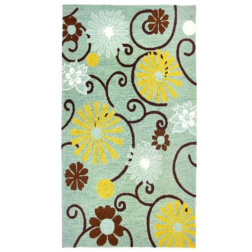 Homefires Daisies on Spa Blue 3-Feet by 5-Feet Indoor Hand Hooked Area Rug