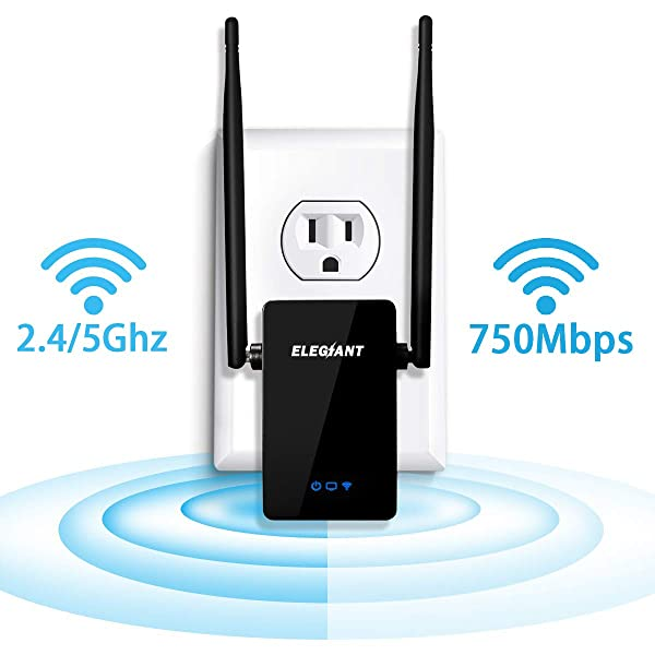 WiFi Range Extender, ELEGIANT 750Mbps Wireless WiFi Repeater Signal Amplifier Booster Supports Router Mode/Repeater/Access Point, 2.4 & 5GHz Dual Band