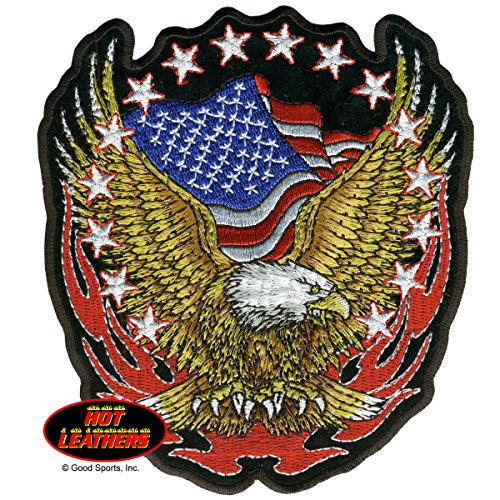 Hot Leathers, EAGLE US FLAG & STARS, High Thread EMBROIDERED Iron-On / Saw-On Rayon PATCH - 3