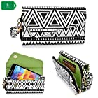 NEVISS TM Cellphone holder clutch with bonus wristlet strap & crossbody chain | aztec design in black and white universal design fits Straight Talk ZTE Unico Z930 LTE Prepaid Cell Phone