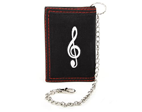 Tri-fold Fabric Wallet with Embroidered Music G-clef Patch, Slim & Strong ID Window and Chain for Jeans