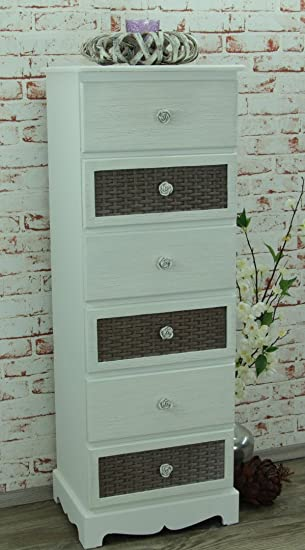 Cómoda con seis cajones de un armario de estilo multicolour shabby chic de registro, New