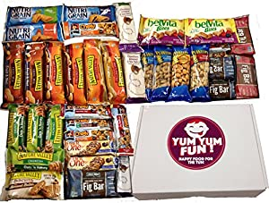 Yum Yum Fun Healthy Bars & Snacks Variety Pack Assortment Care Package for Guys Military College Bulk Snack Gift Box 35 Count