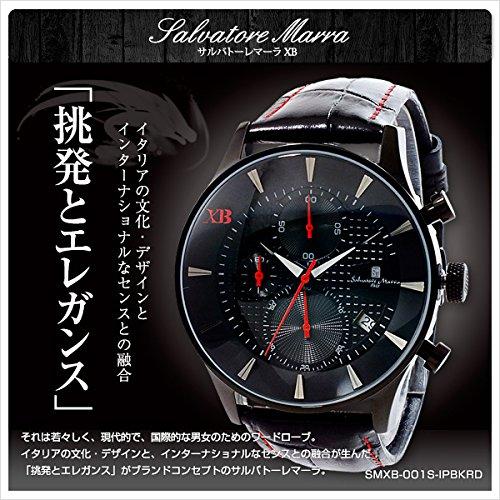 サルバトーレマーラ XB メンズ クロノ 腕時計 SMXB-001S-IPBKRD ブラック文字盤 ブラックレザーベルト [並行輸入品]