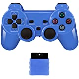 Wireless Controller 2.4G Compatible with Sony Playstation 2 PS2 (Bright Blue) (Color: Bright Blue)