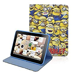 Kabi Despicable Me Minion Premium Leather Wallet Stand Holder Folio Folding Case Cover For Apple iPad Mini With Free Stylus Pen (MULTIPLE EYES MINION CASE)