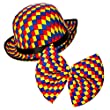 Clown Bowler Hat & Bow Tie for Adults Circus Clown Fancy Dress Costume & Accessory