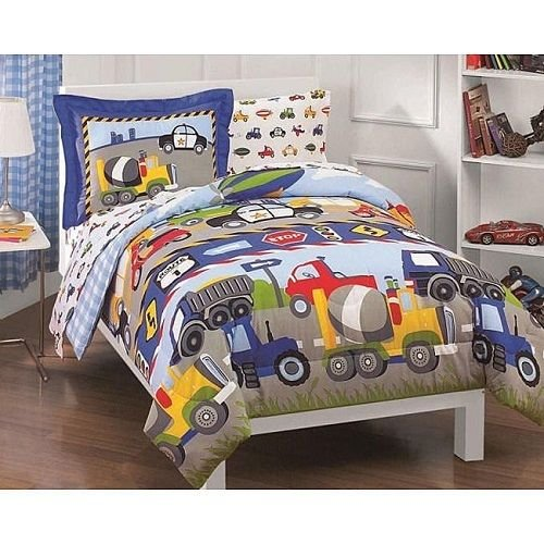 5 Pc. Boys Bedding Comforter Bed Set W/Sheets Twin Trucks Bedspread Bed In A Bag front-975012