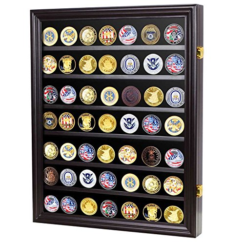 Military-Challenge-Coin-Display-Case-Cabinet-Rack-Shadow-Box-Wood-COIN26-BLA