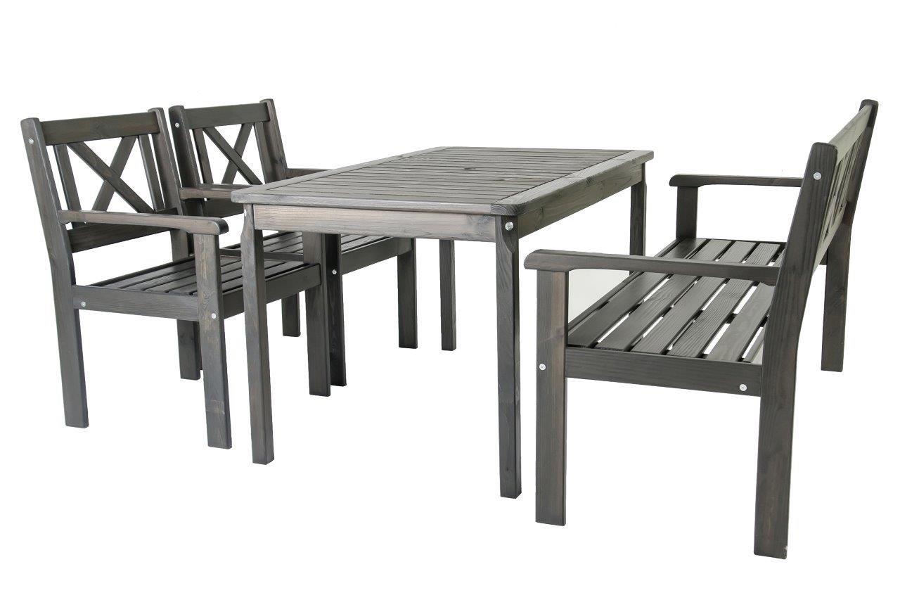 Trendy-Home24 Gartenset 4tlg. Evje, taupegrau, Essgruppe, Sitzgruppe, mit 3-Sitzer Bank und Sessel, Tisch 135 x 77 cm online bestellen