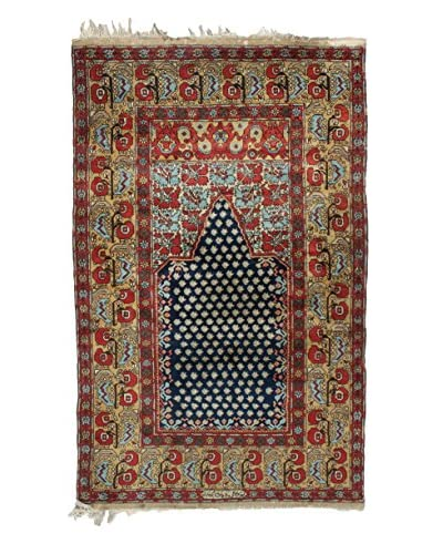 Semi Antique Persian Rug, Red/Cream/Blue, 7′ 4″ x 4′ 3″
