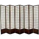 Oriental Furniture 7 ft. Tall Window Pane Shoji Screen - Walnut - 8 Panels