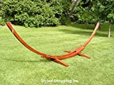 Deluxe Wood Arc Hammock Stand + Two Person White Soft Polyester Rope Hammock