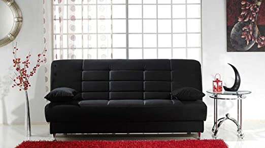 Vegas Rainbow Black Convertible Sofa Bed by Sunset