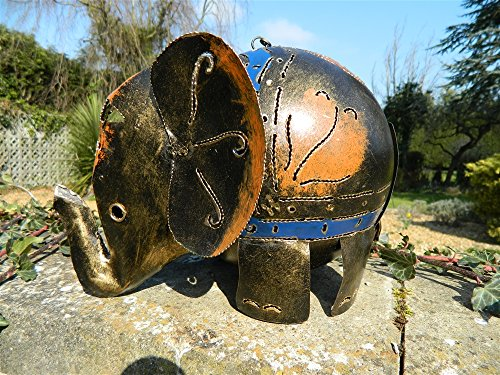 Elephant Tea Light Holder Metal Elephant Garden Lantern - XL Gold Elephant 30cm Tealight