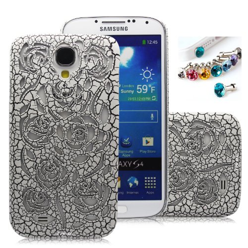 >>  Cocoz®new Releases Romantic White Roses Carved Palace Fashion Design Samsung Galaxy S4 I9500 Hard Case Cover Skin Retail Packing(White Roses. Palace Carving Craft) -H021