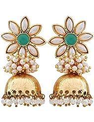 The Jewelbox Flower 18K Gold Plated Green Pearl Jhumki Earring For Women