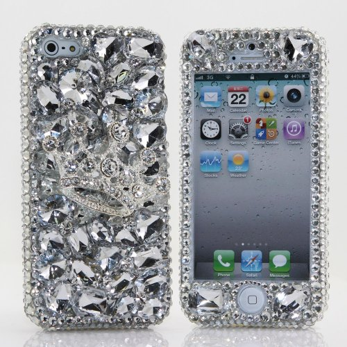Great Price Luxury Bling iphone 5 5S Case Cover Faceplate 3D Swarovski Diamond Silver Crown Crystal Design Front & Back case AT&T Verizon & Sprint (Handcrafted by BlingAngels)