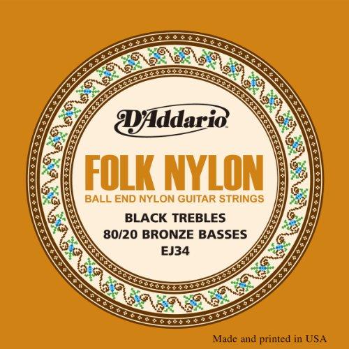 D'Addario EJ34 Folk Nylon Guitar Strings, Ball