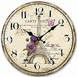 Lovely Paris 12 Wall Clock, Eruner Family Decoration French Country 12-Inch Wood Clock Painted *Paris Carte Post* Retro Style(Paris, M4)