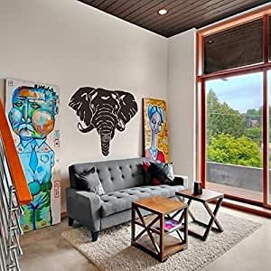 Elephant head wall decal elephant face wall sticker vinyl african elephant wall - Elephant decor for living room ...