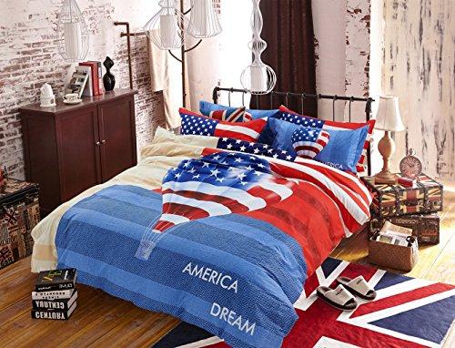 CASA Children 100% cotton series American Flag Duvet cover & Pillow case & Fitted Sheet,4 Pieces,Queen