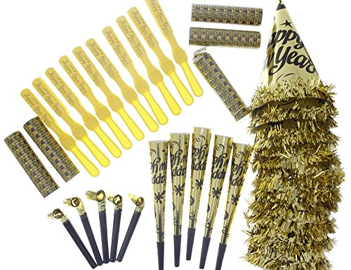 New Years Assorted Party Favors Pack, Gold & Black, For 10 People (Party Streamers Pack compare prices)