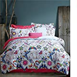 Cotton bedding sets 4 pcs duvet cover set pastoral style pink & butterfly (Europe King)