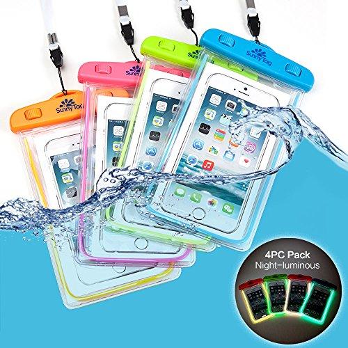 sunny-tag-glow-in-dark-floating-waterproof-universal-phone-dry-bag-case-4-pack