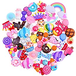 Outus 50 Pieces Mixed Food Resin Cute Cabochons Flatback for Cell Phone Decoration and Craft Projects