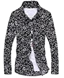 (ベクー)Bekoo メンズ 花柄 長袖 シャツ モノトーン カラー インナーシャツ ワイシャツ (19 ブラック L)