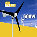 Davitu Alternative Energy Generators - Max 600W Wind Turbine Generator Kit Max AC 12V 24V 3 Blade Option Aerogenerator - (Voltage: 24V) (Color: 24V)