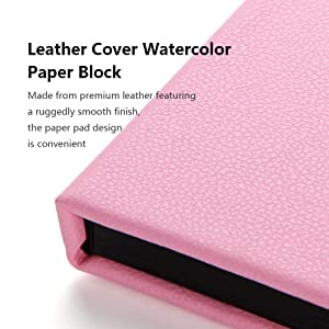 Paul Rubens Watercolor Paper Block, Premium Leather Cover Artist Quality Hot Pressed Paper for Watercolors and Wet Media Block, Acid Free & 100% Cotton, 10.63 x 7.68 inches, 140lb, 20 Sheets (Pink) (Color: Pink Cover, Tamaño: 10.63 x 7.68)