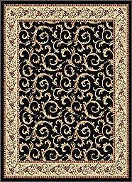 Traditional Black European Scrolls Vines Area Rug Border Leaves Persian Carpet (5\' x 7\'  ( Rectangle))