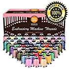 Embroidery Polyester Thread Complete Bundle - 63 Variety Spools - Beautiful Colors Match Brother Machines + Free Bonuses (1100yard)
