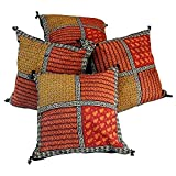Ufc Mart Bagru Patch Work Pure Cotton Cushion Cover Set, Color: Multi-Color, #Ufc00416