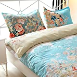 Cotton Blend Well Designed Floral Pattern Printed Lightweight Duvet Cover Sets, Twin Size