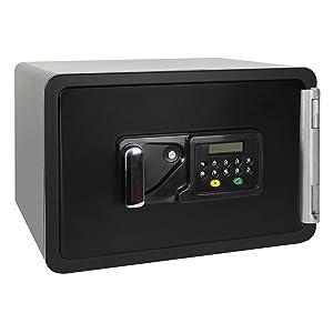 HMF 4615001 Feuerfester Tresor, Brandschutztresor Safe Möbeltresor, 45,0 x 38,0 x 30,5 cm , schwarz  Überprüfung und weitere Informationen