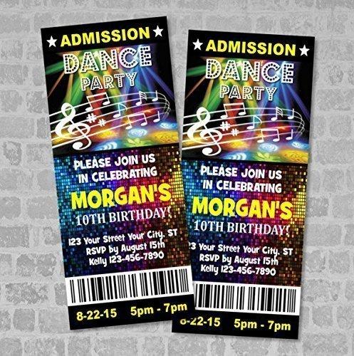Custom Ticket Dance Party Invitation, Custom Boy or Girl Disco Lights Dance Birthday Party Ticket Invites