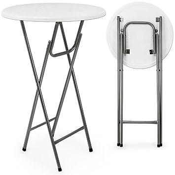 klappbarer stehtisch wei mit holzdekor mdf gartentisch bistrotisch bartisch dc418. Black Bedroom Furniture Sets. Home Design Ideas