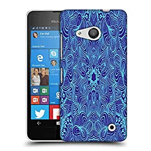 Snoogg Abstract Neon Blue Pattern Designer Protective Phone Back Case Cover For Nokia Lumia 550