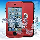Bovon Waterproof Case for iPod touch 5, New Waterproof Shockproof Dirtproof Snowproof Case Cover with Kickstand for Apple iPod touch 5th Generation (Red)