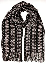 Missoni D4896 0006 Grey Wool Blend Crochet Knit Zigzag Scarf