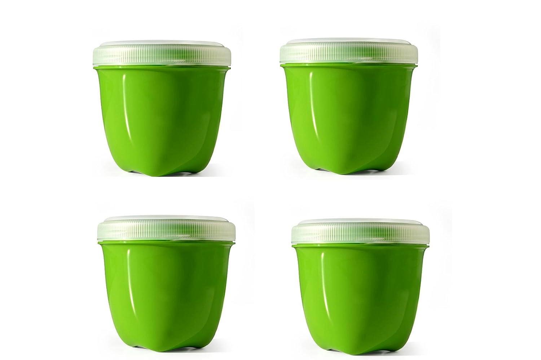 Preserve Mini Food Storage, 8-Ounce, Apple Green, Set of 4