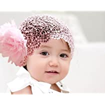 Flower Toddlers Infant Baby Girl Princess Headband Hair Band Headwear accessories Crochet Pink Size S