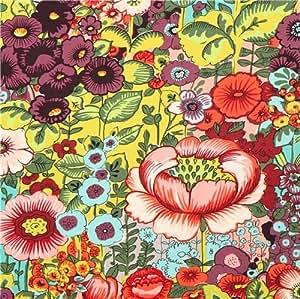 Amazon.com: chartreuse flower fabric Flores de Coyoacan Alexander