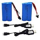 Blomiky 2 Pack H101 7.4V 1500mAh Battery and USB Charger Cable for Skytech TKKJ H105 H103 H101 RC Boat and UDI U12 Helicopter H101 Battery & USB 2
