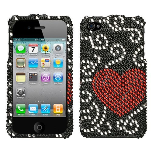Diamond Snap-On Protector Case Cover Curve Heart For Apple iPhone 4