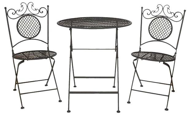 5Y0176 Clayre & Eef - Mobili di giardino - Tavolo di giardino con due sedie - Nero ca. 66 x 74 cm / 40 x 40 x 88 cm